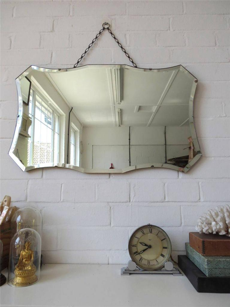 Vintage Large Bevelled Edge Wall Mirror Art Deco Bevel Edge Mirror