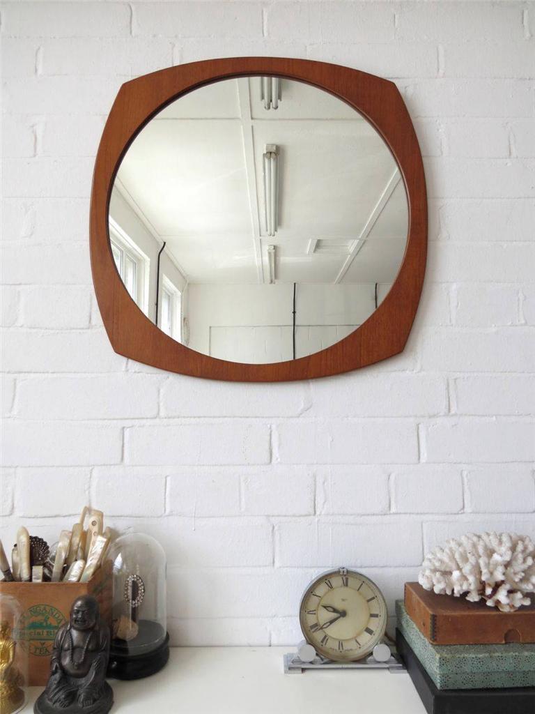 vintage large round danish teak wall mirror modernist mid century mirror ebay. Black Bedroom Furniture Sets. Home Design Ideas