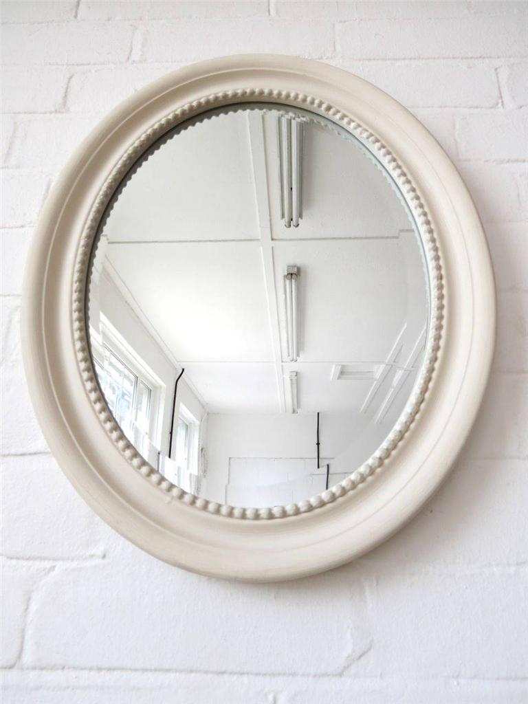 Old White Oval Bevelled Edge Wall Mirror Distressed Wooden
