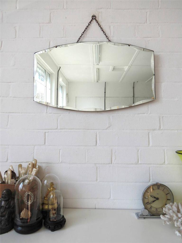 vintage bevelled edge wall mirror art deco beveled edge mirror ebay. Black Bedroom Furniture Sets. Home Design Ideas