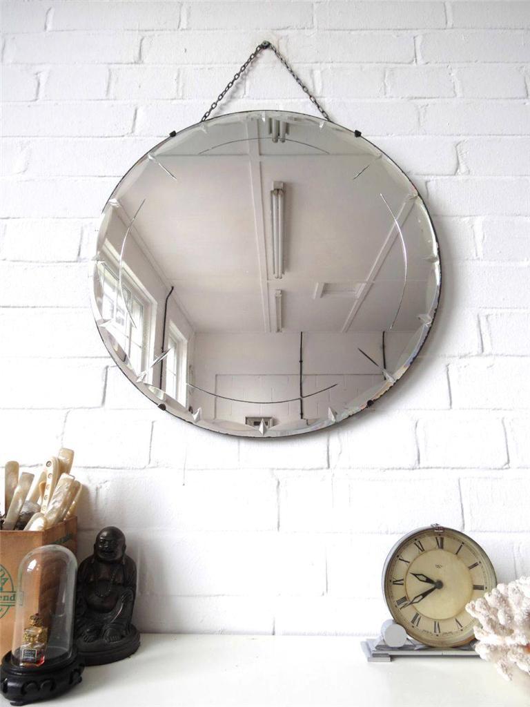 vintage large round bevelled edge wall mirror engraved art deco beveled mirror ebay. Black Bedroom Furniture Sets. Home Design Ideas