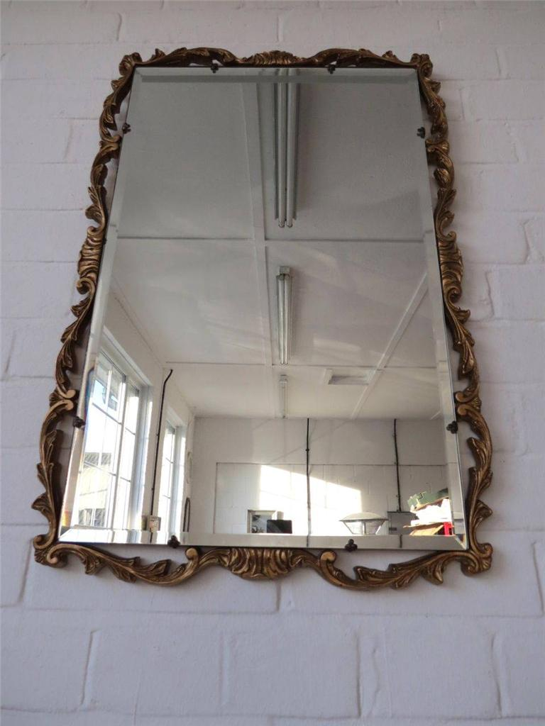 Vintage large bevelled edge atsonea wall mirror with gold for Large wall mirror wood frame
