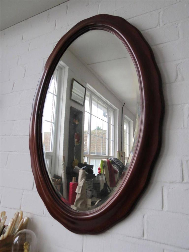 Vintage large oval bevelled edge wall mirror with unique - Unusual large wall mirrors ...