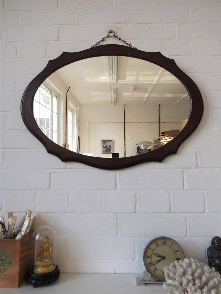 Wall Art With Mirror Frame : Vintage large oval wall mirror with wooden art deco