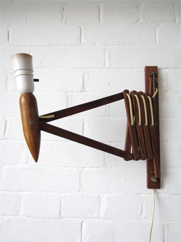 Vintage Danish Wall Lights : Vintage Danish Modernist Teak Scissor Adjustable Swing ARM Wall Lamp Wall Light eBay