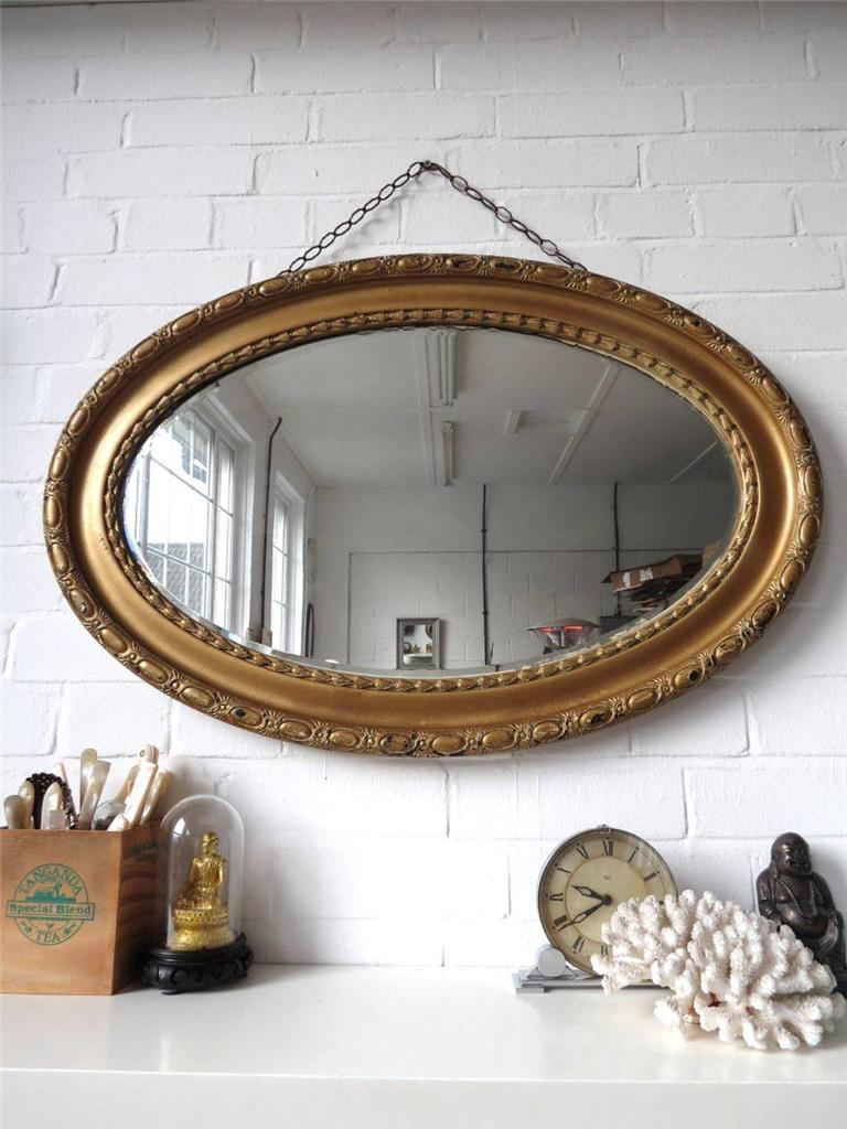 Vintage extra large oval bevelled edge wall mirror with for Large wall mirror wood frame