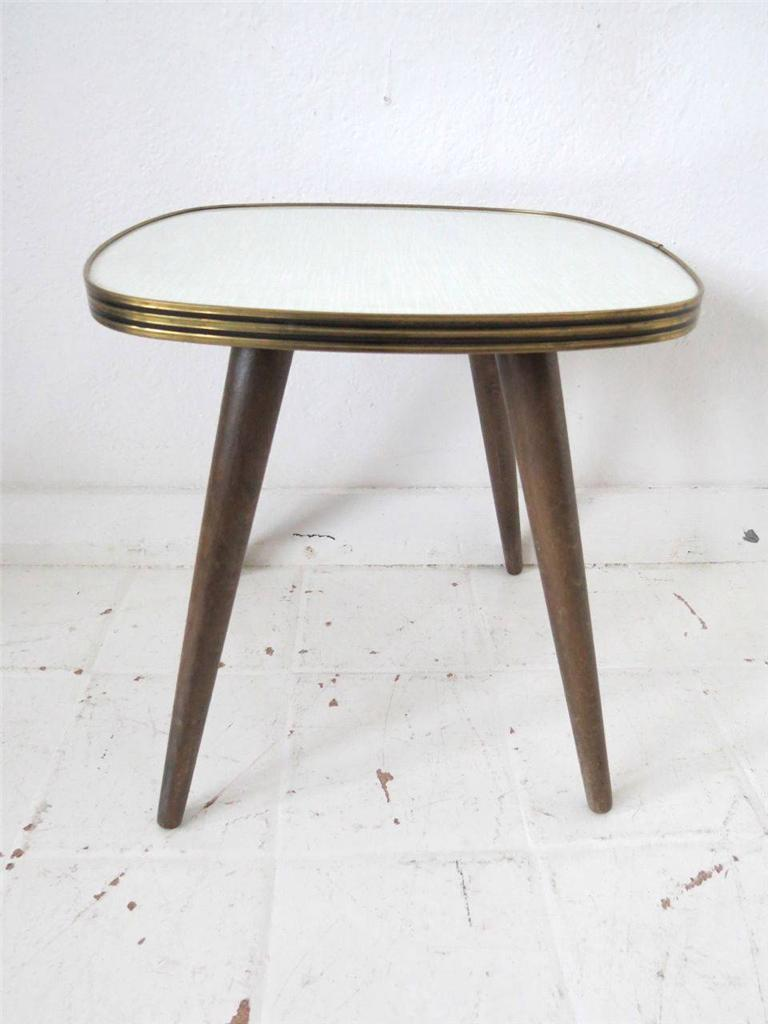 vintage side table or coffee table melamine formica or milking stool