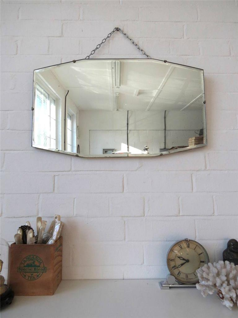 vintage art deco bevelled edge wall mirror or frameless mirror ebay. Black Bedroom Furniture Sets. Home Design Ideas
