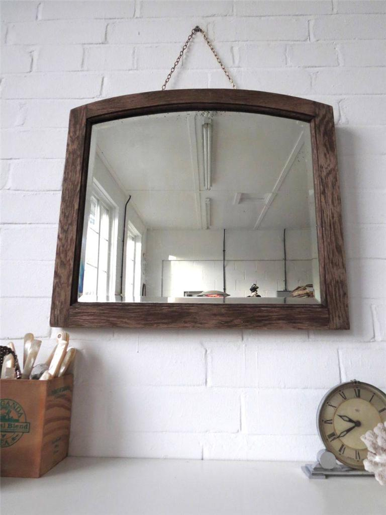 vintage large rustic art deco bevelled edge wall mirror