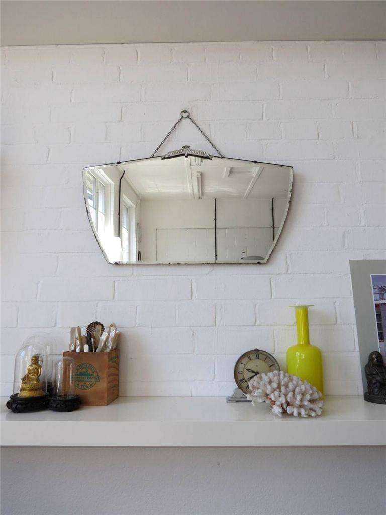 Vintage grand art deco miroir mural contour biseaut avec for Deco avec miroir mural