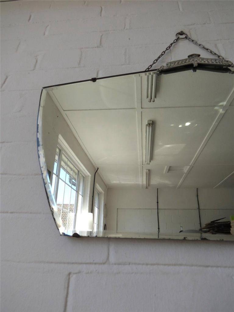 Vintage grand art deco miroir mural contour biseaut avec chrome d tails - Deco avec miroir mural ...