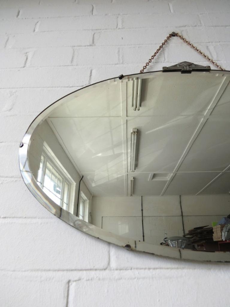 Vintage ovale art deco con bordi bisellati specchio parete - Specchio ovale vintage ...