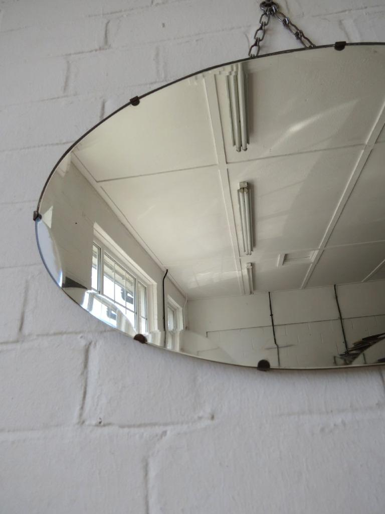 Vintage oval art deco bevelled edge wall mirror or for Frameless wall mirror