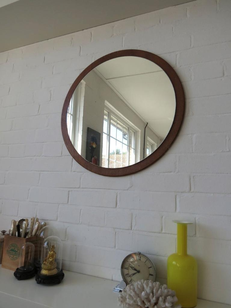 Vintage extra large round danish teak wall mirror mid for Extra large round mirror