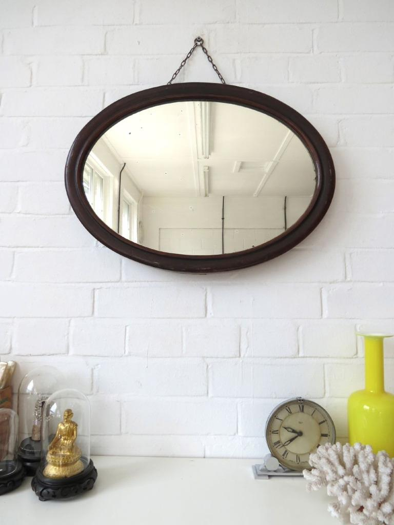 Wall Art With Mirror Frame : Vintage oval art deco wall mirror with wooden frame