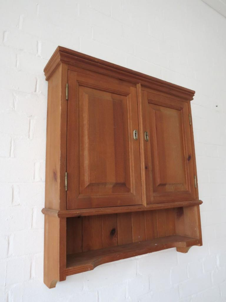 lovely vintage large pine bathroom wall cabinet