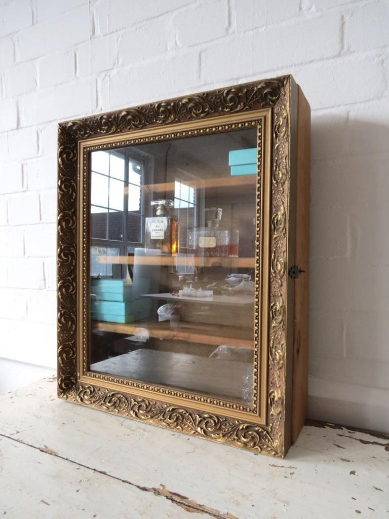 Vintage bathroom wall cabinet or glass display case ebay - Antique bathroom wall cabinets ...
