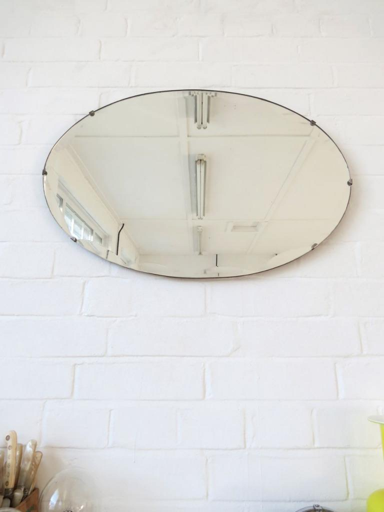 Vintage oval art deco bevelled edge wall mirror ebay - Oval wall decor ...