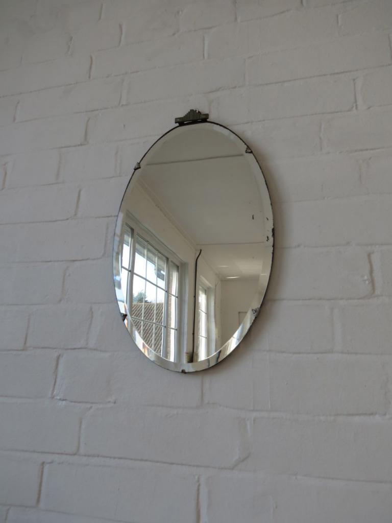Vintage Oval Art Deco Bevelled Edge Wall Mirror Ebay