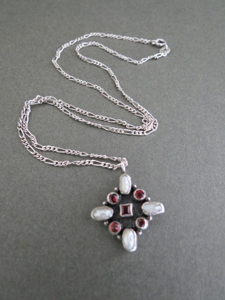 vintage garnet real pearl sterling silver pendant necklace