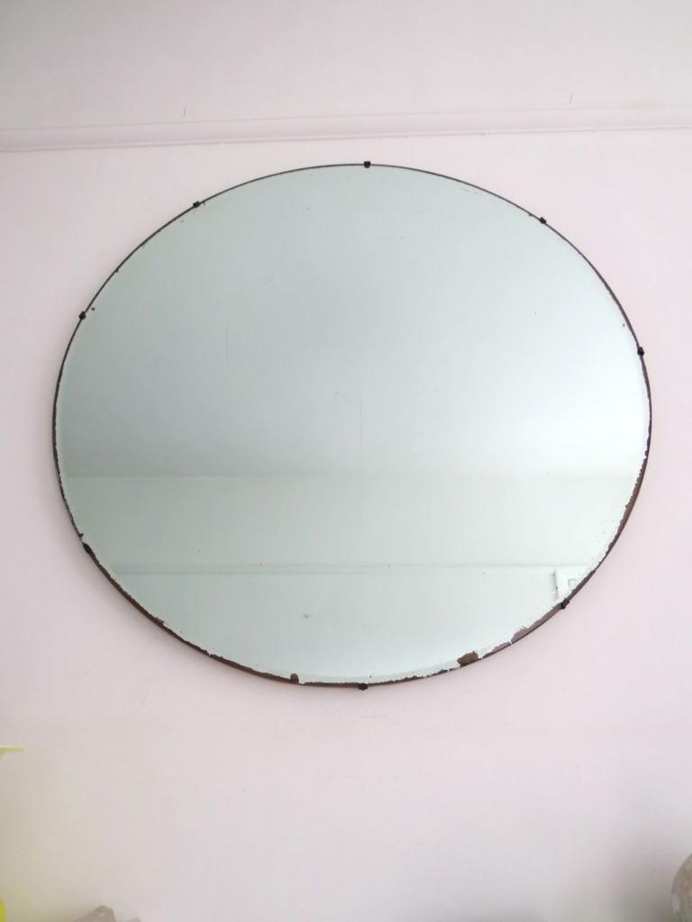 vintage art deco round mirror extra large ebay
