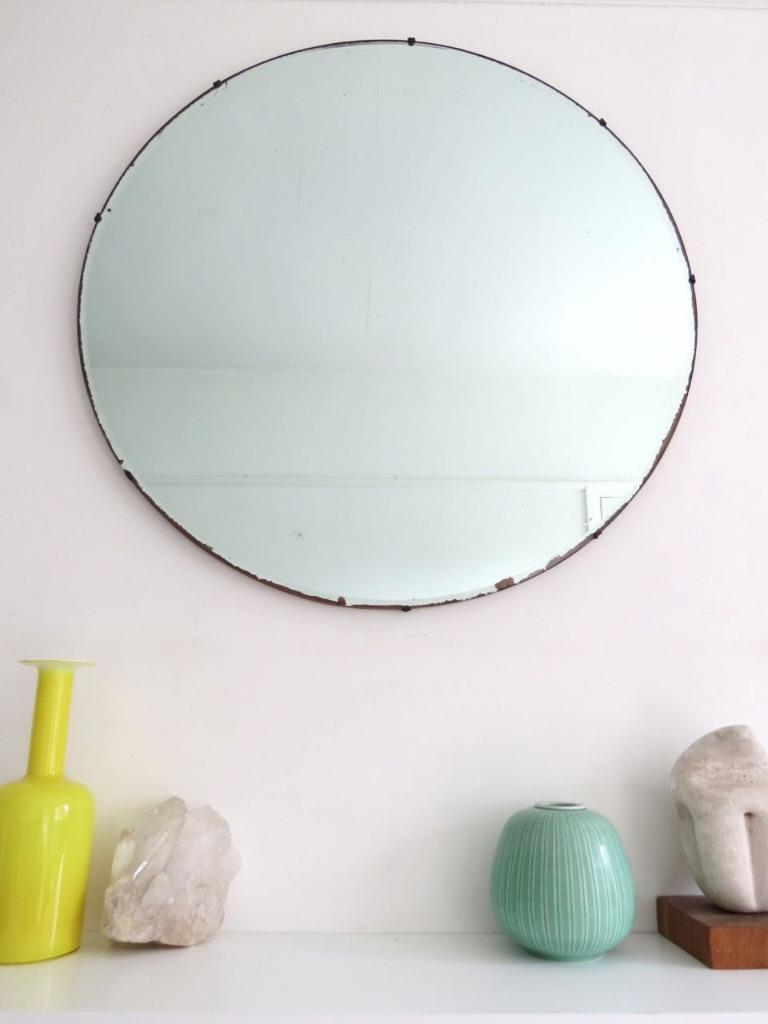 Vintage art deco round mirror extra large ebay for Extra large round mirror