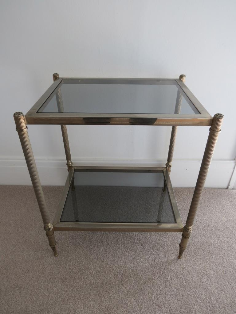 Vintage Glass Side Table ~ Vintage french brass glass coffee table side ebay