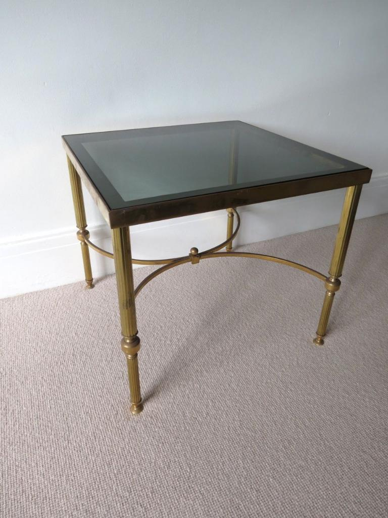 Vintage french brass glass coffee table side table ebay for French glass coffee table