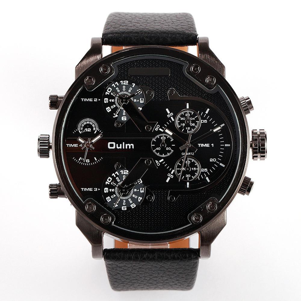 Luxury Military Army Dual Time Quartz Men Watch Leather Sports Wrist Watch Oulm
