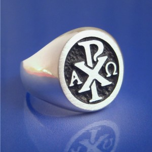Chi Rho Alpha Omega Ring Solid Sterling Silver Size 8