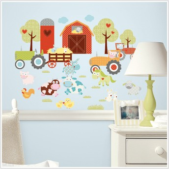 Happi barnyard 42 wall decals farm animals tractors red for Barnyard wall mural
