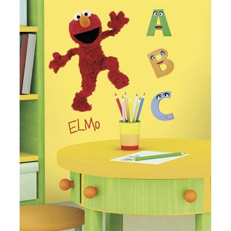 sesame street elmo removable wall decals mural abc school room decor stickers ebay. Black Bedroom Furniture Sets. Home Design Ideas