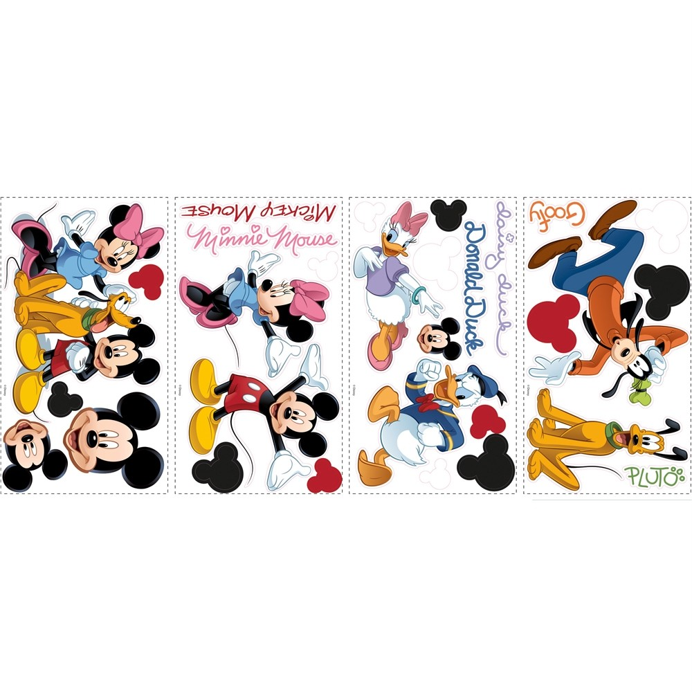 disney mickey friends 32 wall decals minnie mouse goofy pluto room decor sticker ebay. Black Bedroom Furniture Sets. Home Design Ideas
