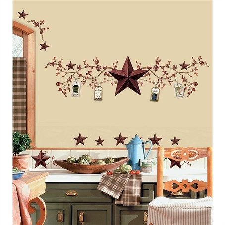 country stars berries wall decals berry stickers rustic
