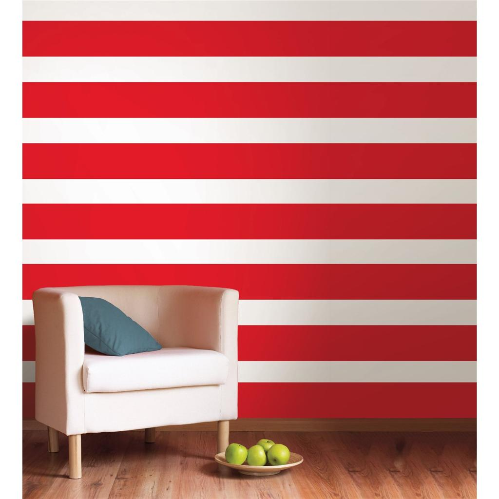 Wall Decor With Stripes : Red hot wall border wallpops stripe wallpaper