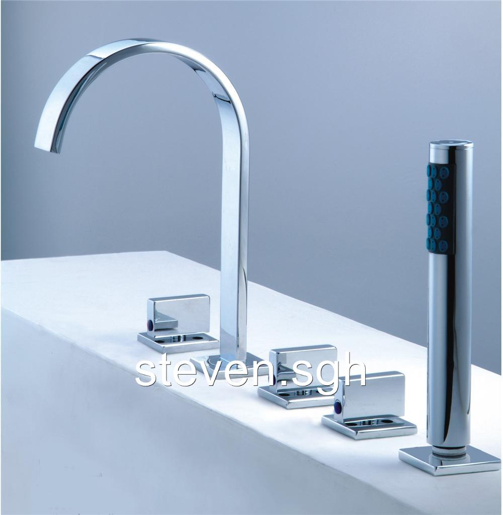 Modern Chrome Roman Tub Faucet With Hand Shower For 5 Hole