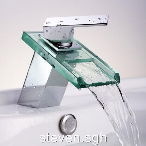 Modern Chrome Open Spout Waterfall Mixer Tap Bathroom Sink Faucet 0218B EBay