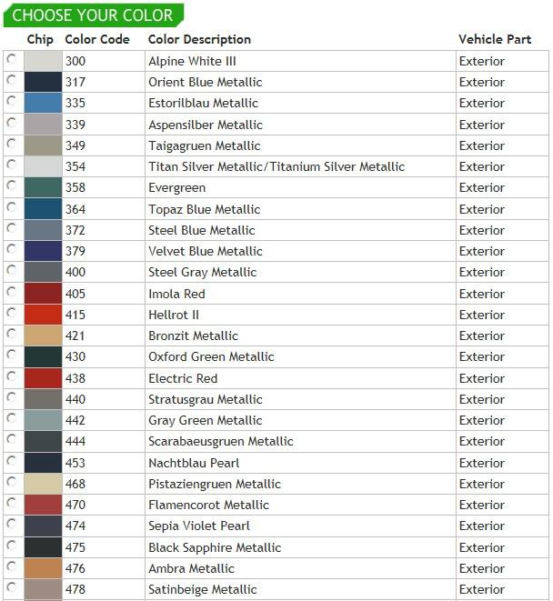 Bmw E Paint Codes