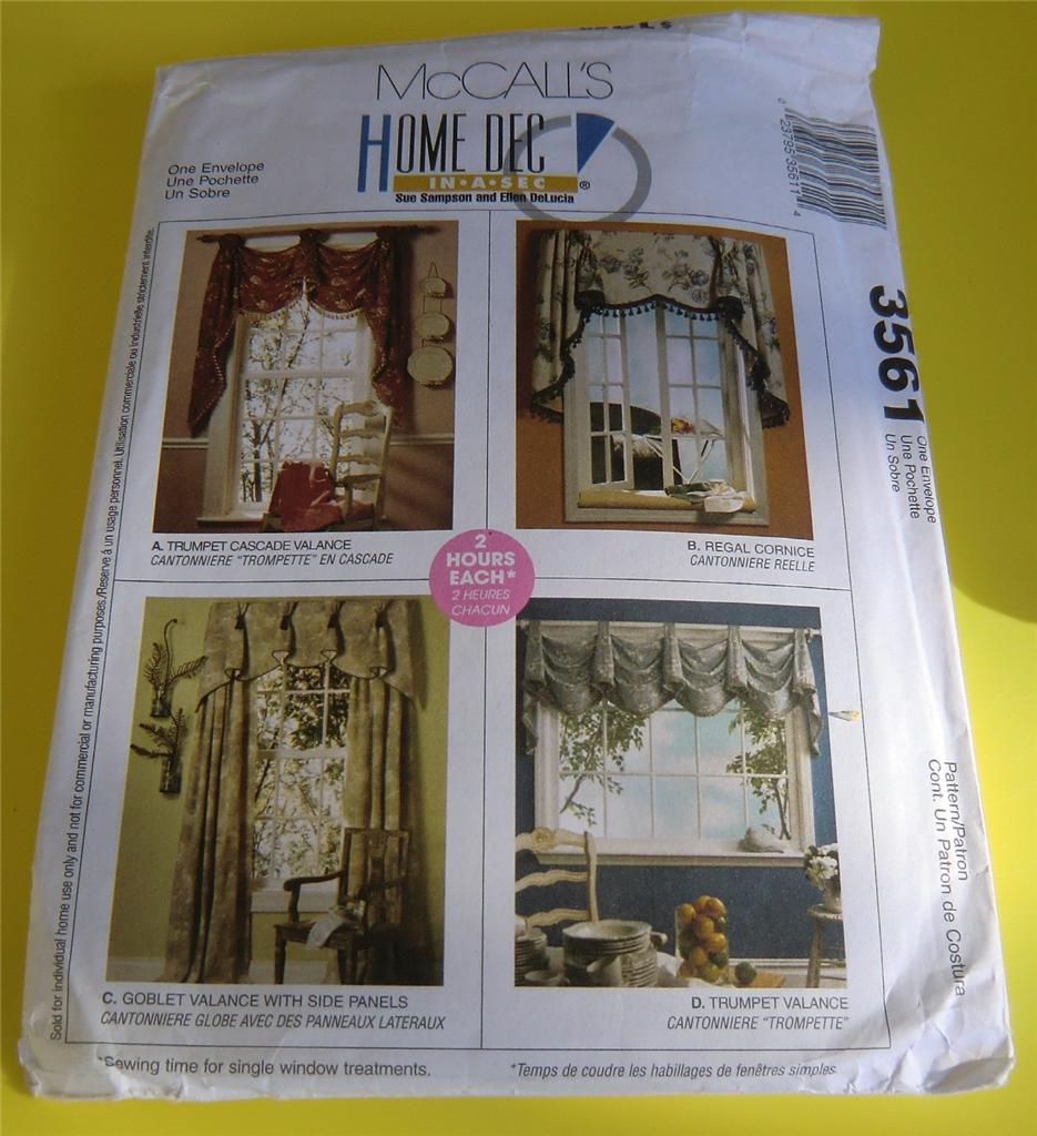 Mccalls Pattern 3561 Home Decor Decoration Valance Swags