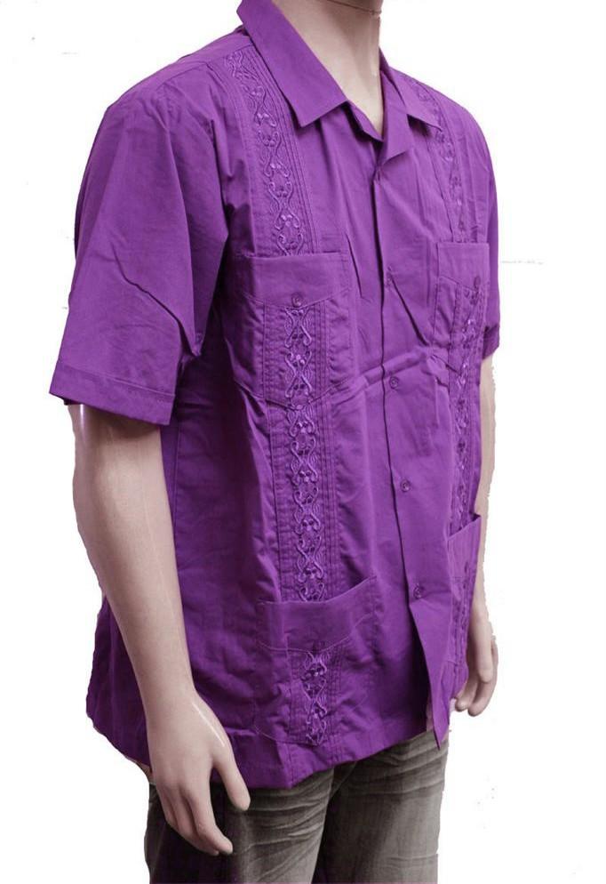Nwt Mens Guayabera Wedding Cigar Bartender Shirt Purple
