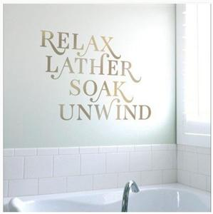 Designer bathroom wall lettering decals quotrelax lather for Bathroom wall letters