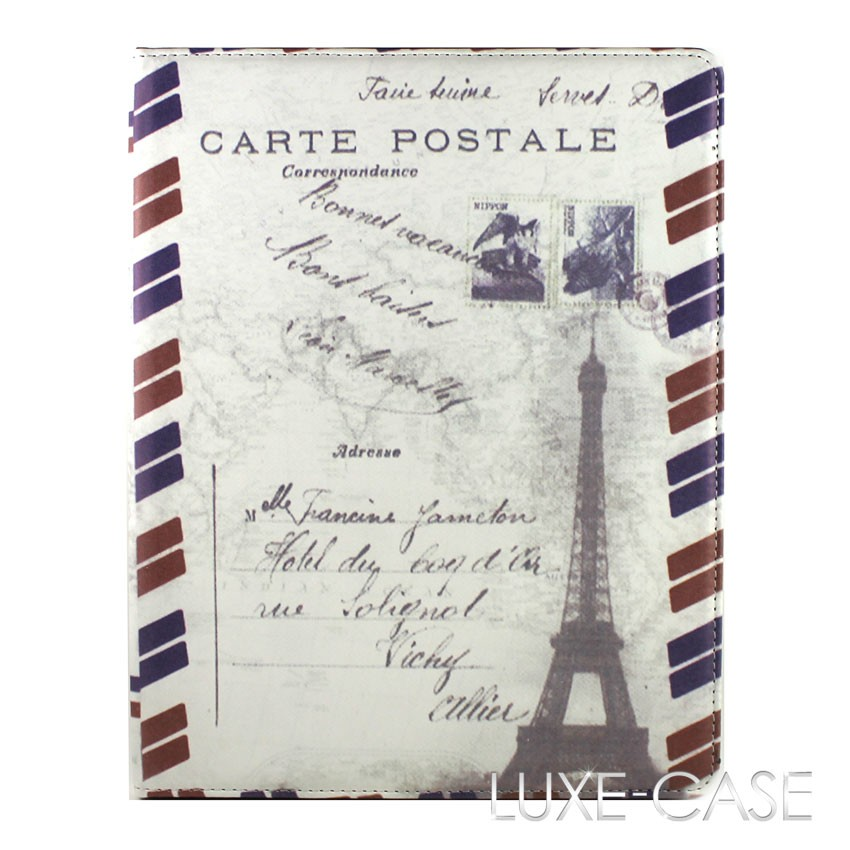 luxury designer vintage carte postale france paris ipad 2 3 case cover stand new ebay. Black Bedroom Furniture Sets. Home Design Ideas