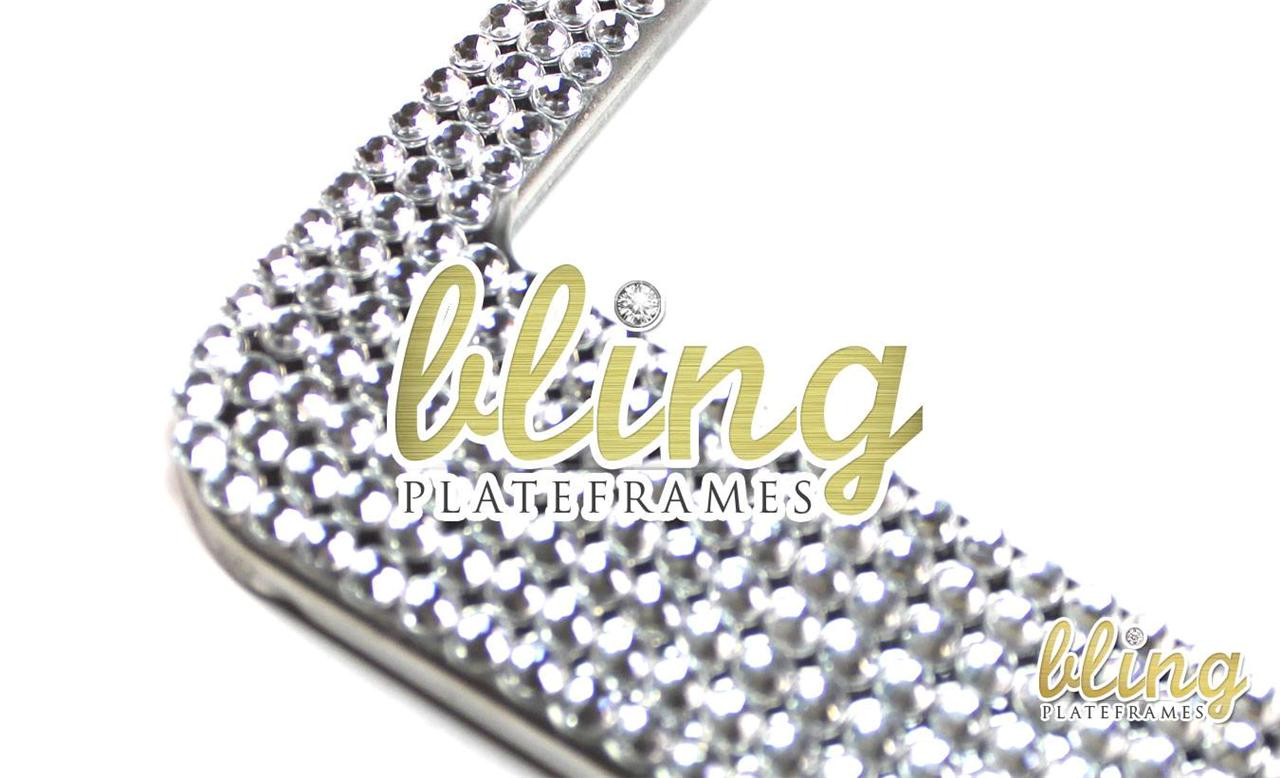 rhinestone license plate frame black 3d bow diamond bling clear silver jeweled