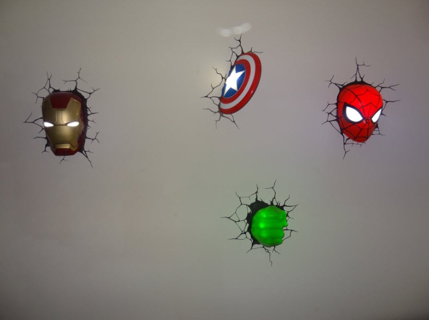 Avengers 3d Wall Decor Lights : Marvel Comics Avengers 3D Deco Wall Art Night light (s) - Set of 4 BUNDLE New eBay