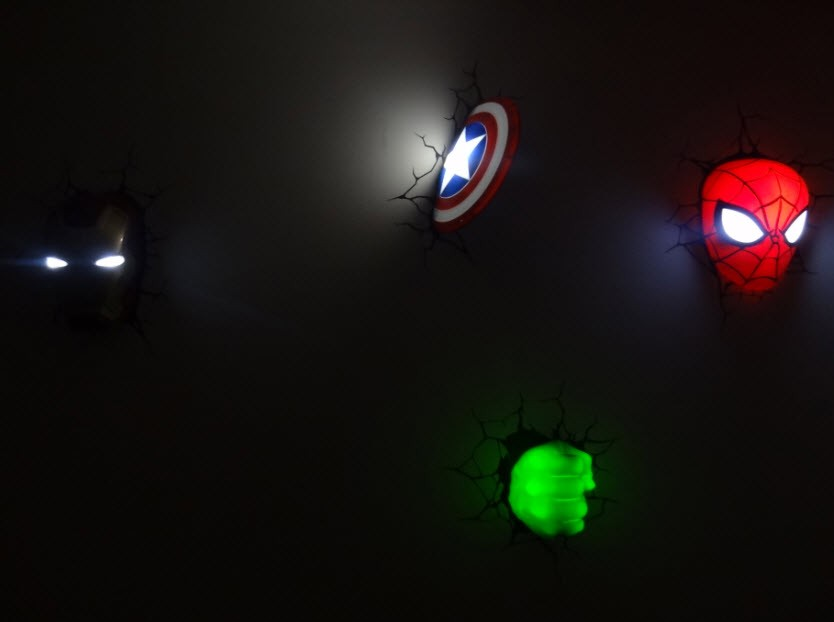 Marvel Night Lights Wall : Marvel Comics Avengers 3D Deco Wall Art Night light (s) - Set of 4 BUNDLE New eBay