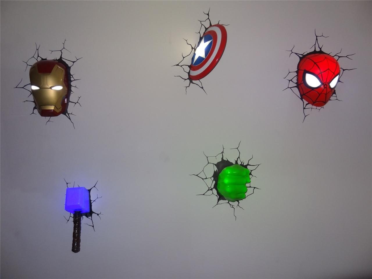 The Avengers Wall Lamps : Marvel Comics Avengers 3D Deco Wall Art Night Light (s) - Set of 5 BUNDLE! New eBay