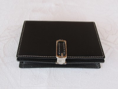 Coach black leather business credit card id holder red for Business card holder coach
