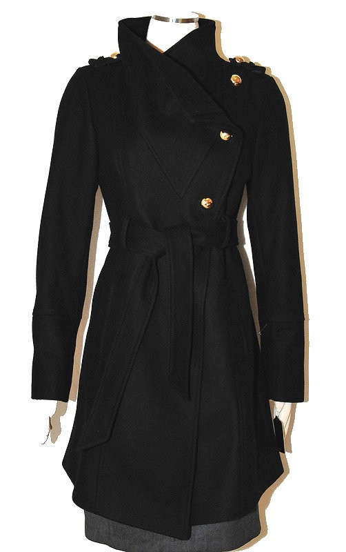 Guess coat Wool Military Asymmetrical belted 3/4 Length stylish