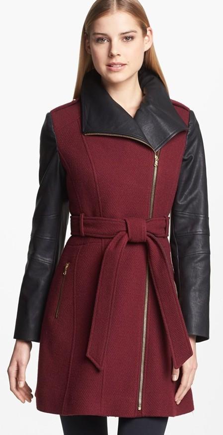 Guess Asymmetrical Wool Coat Blend Walker With Faux