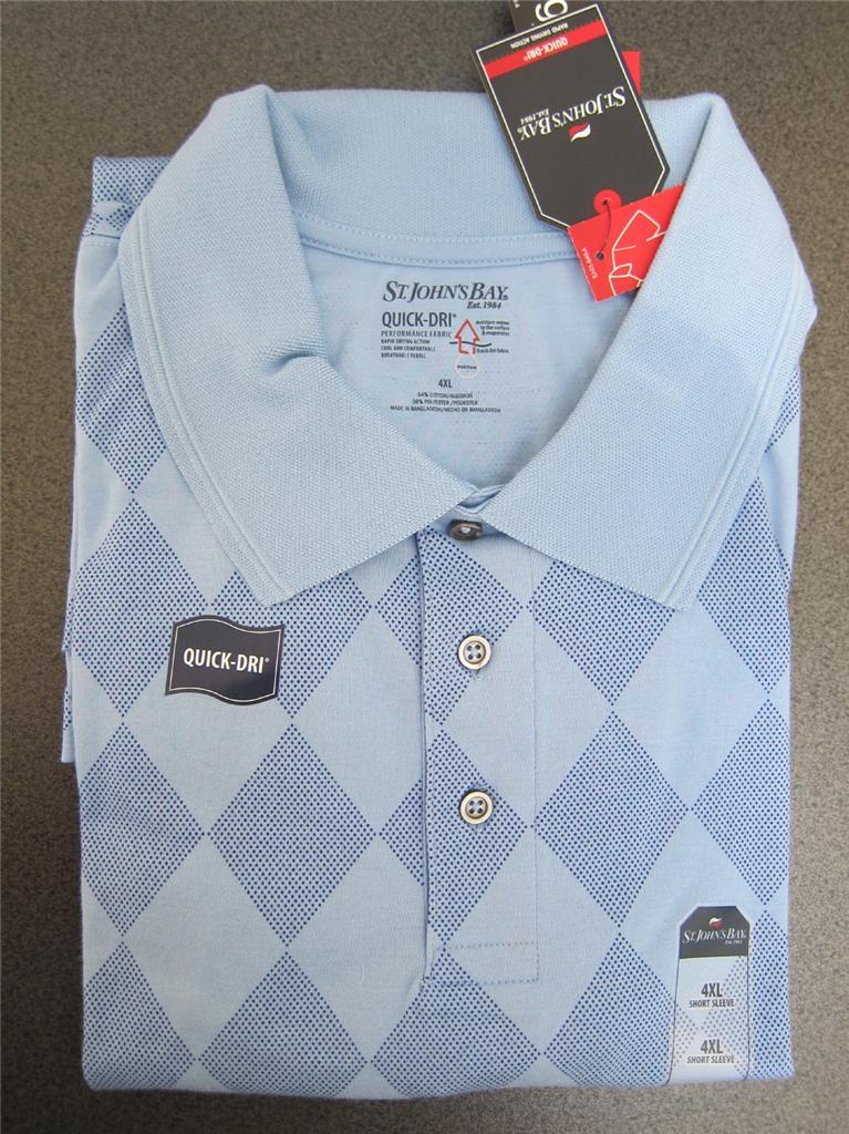 Nwt mens st john 39 s bay quick dri polo shirt casual 3xl for Mens 4xlt flannel shirts